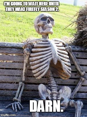 Waiting Skeleton Meme | I'M GOING TO WAIT HERE UNTIL THEY MAKE FIREFLY SEASON 2. DARN. | image tagged in memes,waiting skeleton | made w/ Imgflip meme maker