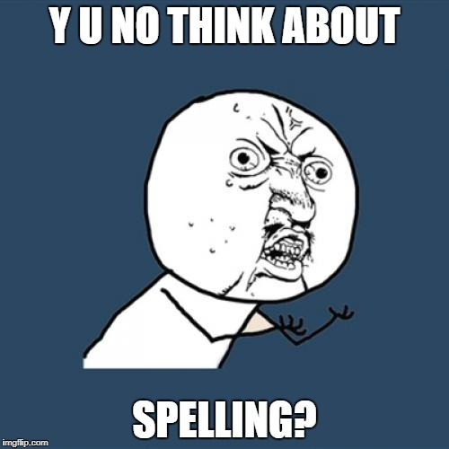 Y U No Meme | Y U NO THINK ABOUT SPELLING? | image tagged in memes,y u no | made w/ Imgflip meme maker