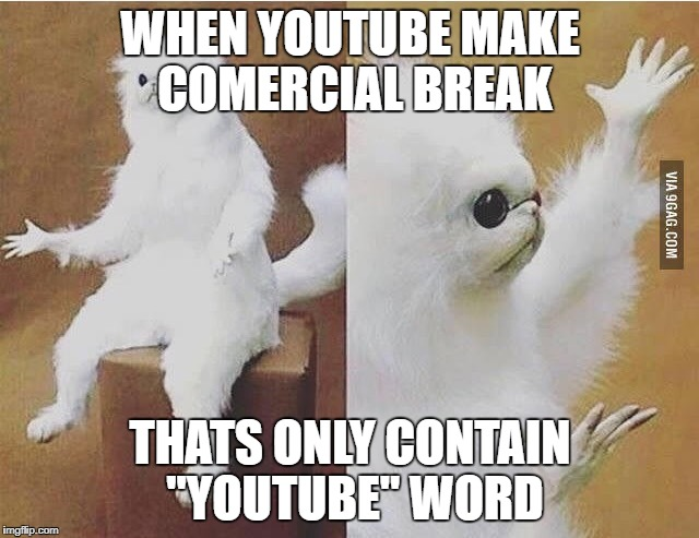 "Confused white monkey |  WHEN YOUTUBE MAKE COMERCIAL BREAK; THATS ONLY CONTAIN ""YOUTUBE"" WORD 