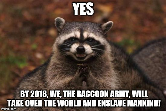 Evil racoon | YES BY 2018, WE, THE RACCOON ARMY, WILL TAKE OVER THE WORLD AND ENSLAVE MANKIND! | image tagged in evil racoon | made w/ Imgflip meme maker