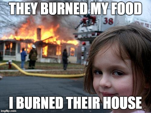 Disaster Girl Meme | THEY BURNED MY FOOD I BURNED THEIR HOUSE | image tagged in memes,disaster girl | made w/ Imgflip meme maker