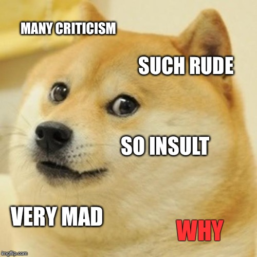 Doge Meme | MANY CRITICISM SUCH RUDE SO INSULT VERY MAD WHY | image tagged in memes,doge | made w/ Imgflip meme maker