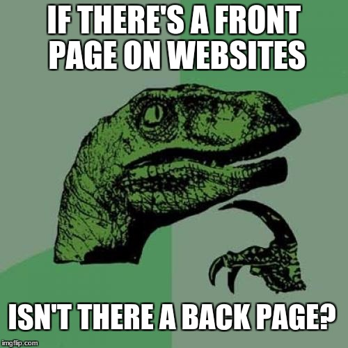 Philosoraptor Meme | IF THERE'S A FRONT PAGE ON WEBSITES ISN'T THERE A BACK PAGE? | image tagged in memes,philosoraptor | made w/ Imgflip meme maker