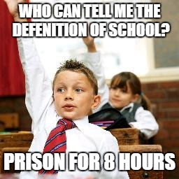 School Kid Pick Me | WHO CAN TELL ME THE DEFENITION OF SCHOOL? PRISON FOR 8 HOURS | image tagged in school kid pick me | made w/ Imgflip meme maker