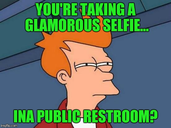 I shit you not | YOU'RE TAKING A GLAMOROUS SELFIE... INA PUBLIC RESTROOM? | image tagged in memes,futurama fry | made w/ Imgflip meme maker
