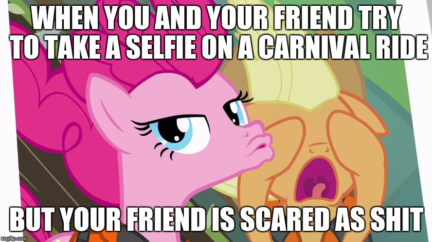 Thankfully I don't have friends like those! (unless I'm that friend) | WHEN YOU AND YOUR FRIEND TRY TO TAKE A SELFIE ON A CARNIVAL RIDE BUT YOUR FRIEND IS SCARED AS SHIT | image tagged in memes,my little pony,carnival | made w/ Imgflip meme maker