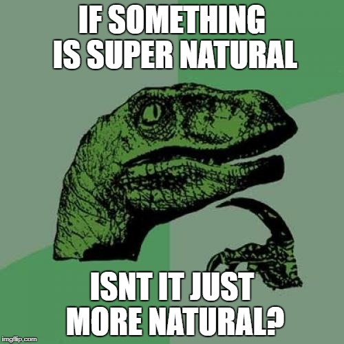 Philosoraptor Meme | IF SOMETHING IS SUPER NATURAL ISNT IT JUST MORE NATURAL? | image tagged in memes,philosoraptor | made w/ Imgflip meme maker