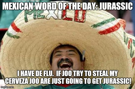 mexican word of the day | MEXICAN WORD OF THE DAY: JURASSIC I HAVE DE FLU.  IF JOO TRY TO STEAL MY CERVEZA JOO ARE JUST GOING TO GET JURASSIC! | image tagged in mexican word of the day | made w/ Imgflip meme maker