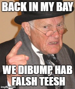 BACK IN MY BAY WE DIBUMP HAB FALSH TEESH | made w/ Imgflip meme maker
