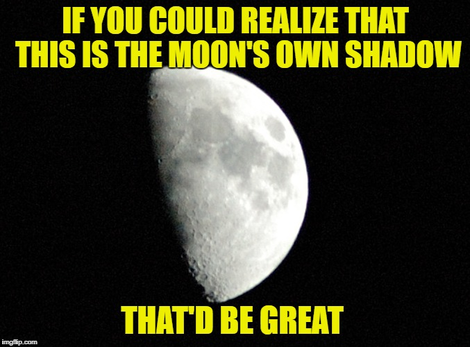 This is the moon's own shadow | IF YOU COULD REALIZE THAT THIS IS THE MOON'S OWN SHADOW THAT'D BE GREAT | image tagged in flat earth,flat earth club,moon,shadow,that'd be great | made w/ Imgflip meme maker