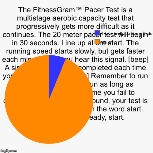 The FitnessGram™ Pacer Test is a multistage aerobic capacity test that progressively gets more difficult as it continues. The 20 meter pacer | image tagged in funny,pie charts | made w/ Imgflip pie chart maker