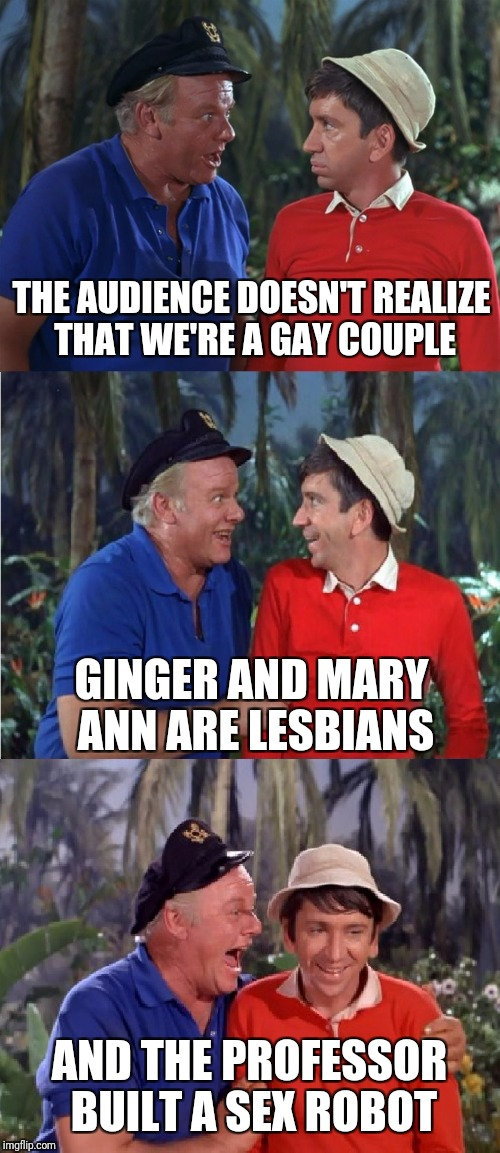 They just kept it in the privacy of their own huts | THE AUDIENCE DOESN'T REALIZE THAT WE'RE A GAY COUPLE AND THE PROFESSOR BUILT A SEX ROBOT GINGER AND MARY ANN ARE LESBIANS | image tagged in gilligan bad pun,memes | made w/ Imgflip meme maker