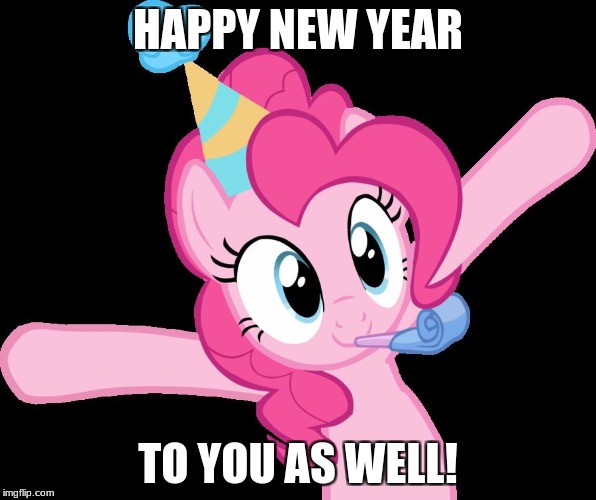Pinkie partying | HAPPY NEW YEAR TO YOU AS WELL! | image tagged in pinkie partying | made w/ Imgflip meme maker