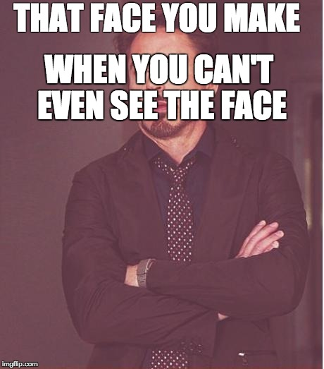 Face You Make Robert Downey Jr Meme | THAT FACE YOU MAKE WHEN YOU CAN'T EVEN SEE THE FACE | image tagged in memes,face you make robert downey jr | made w/ Imgflip meme maker