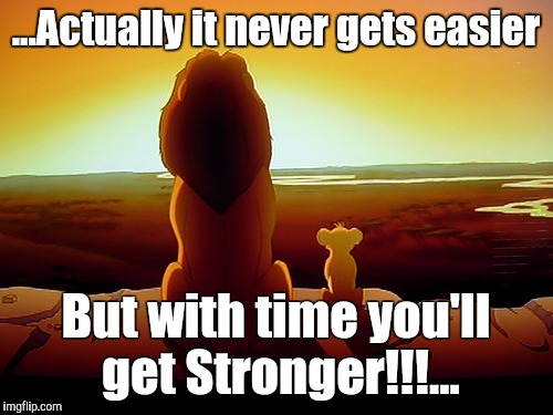 Lion King | ...Actually it never gets easier But with time you'll get Stronger!!!... | image tagged in memes,lion king | made w/ Imgflip meme maker