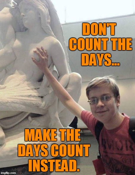 Day by Day | DON'T COUNT THE DAYS... MAKE THE DAYS COUNT INSTEAD. | image tagged in kid,funny shit,cat memes,comedy,nerd | made w/ Imgflip meme maker