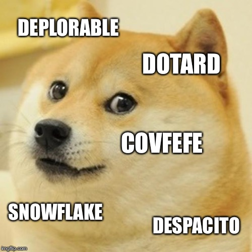 5 Word Summary of 2017 | DEPLORABLE DOTARD COVFEFE SNOWFLAKE DESPACITO | image tagged in memes,doge,happy new year,2018,2017,new years 2017 | made w/ Imgflip meme maker