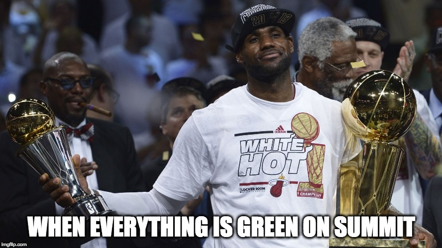 WHEN EVERYTHING IS GREEN ON SUMMIT | image tagged in arrogant lebron james | made w/ Imgflip meme maker