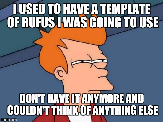 I USED TO HAVE A TEMPLATE OF RUFUS I WAS GOING TO USE DON'T HAVE IT ANYMORE AND COULDN'T THINK OF ANYTHING ELSE | image tagged in memes,futurama fry | made w/ Imgflip meme maker