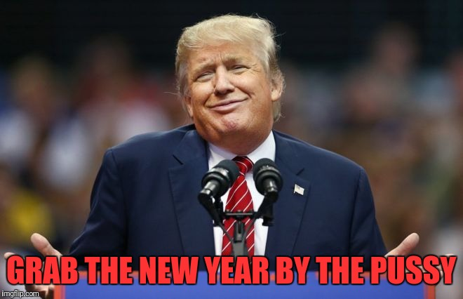 Constipated Trump | GRAB THE NEW YEAR BY THE PUSSY | image tagged in constipated trump | made w/ Imgflip meme maker