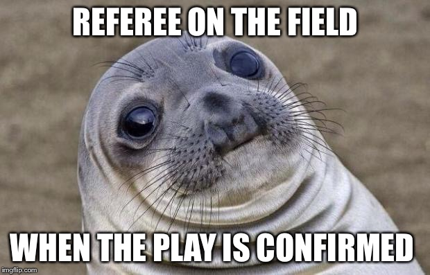 Awkward Moment Sealion Meme | REFEREE ON THE FIELD WHEN THE PLAY IS CONFIRMED | image tagged in memes,awkward moment sealion | made w/ Imgflip meme maker
