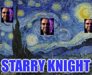 Ringin' in the New Year ! | STARRY KNIGHT | image tagged in ringo starry,ringo starr,starry night,knight,beatles,happy new year | made w/ Imgflip meme maker