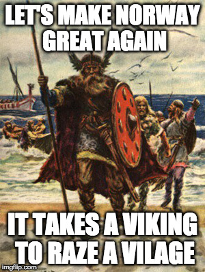 LET'S MAKE NORWAY GREAT AGAIN IT TAKES A VIKING TO RAZE A VILAGE | image tagged in vikings look forward | made w/ Imgflip meme maker