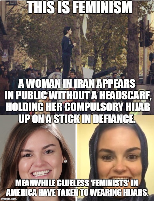 Merriam-Webster's Word of the Year for 2017 is FEMINISM  | THIS IS FEMINISM MEANWHILE CLUELESS 'FEMINISTS' IN AMERICA HAVE TAKEN TO WEARING HIJABS. A WOMAN IN IRAN APPEARS IN PUBLIC WITHOUT A HEADSCA | image tagged in 2017,feminism,feminist,iran,hijab,clueless | made w/ Imgflip meme maker