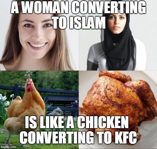Not just the parts that make you feel good.  | A WOMAN CONVERTING TO ISLAM IS LIKE A CHICKEN CONVERTING TO KFC | image tagged in women,conversion,islam,chicken,kfc,2018 | made w/ Imgflip meme maker