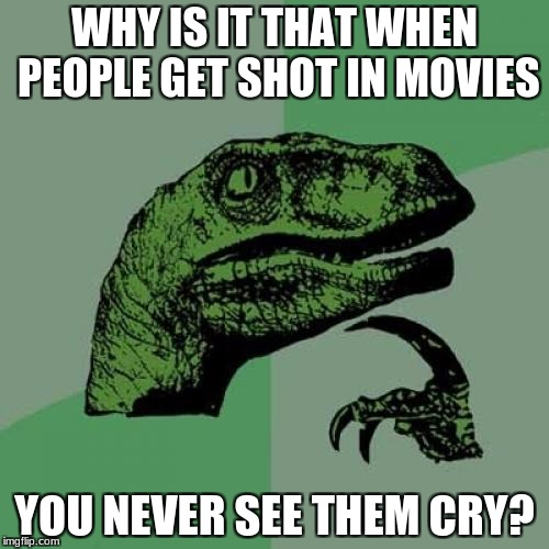 I mean, I know I'd cry | WHY IS IT THAT WHEN PEOPLE GET SHOT IN MOVIES YOU NEVER SEE THEM CRY? | image tagged in memes,philosoraptor | made w/ Imgflip meme maker