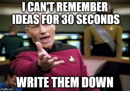 Picard Wtf Meme | I CAN'T REMEMBER IDEAS FOR 30 SECONDS WRITE THEM DOWN | image tagged in memes,picard wtf | made w/ Imgflip meme maker