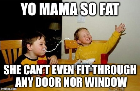 Yo Mamas So Fat Meme | YO MAMA SO FAT SHE CAN'T EVEN FIT THROUGH ANY DOOR NOR WINDOW | image tagged in memes,yo mamas so fat | made w/ Imgflip meme maker
