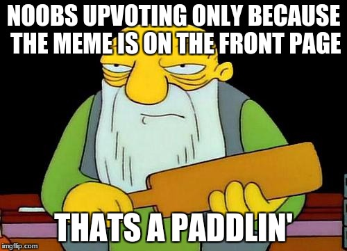 That's a paddlin' Meme | NOOBS UPVOTING ONLY BECAUSE THE MEME IS ON THE FRONT PAGE THATS A PADDLIN' | image tagged in memes,that's a paddlin' | made w/ Imgflip meme maker