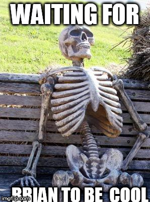 brian will be  cool   some  day  I  know  it. | WAITING FOR BRIAN TO BE  COOL | image tagged in memes,waiting skeleton,bad luck brian,sleleton,waiting | made w/ Imgflip meme maker
