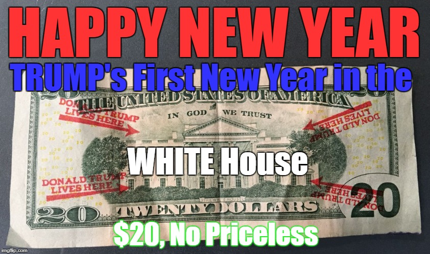 TrumpDollar | HAPPY NEW YEAR WHITE House TRUMP's First New Year in the $20, No Priceless | image tagged in trumpdollar | made w/ Imgflip meme maker