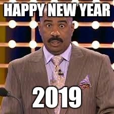 HAPPY NEW YEAR 2019 | image tagged in steve harvey,futurama fry,bad luck brian,too damn high,kermit the frog | made w/ Imgflip meme maker