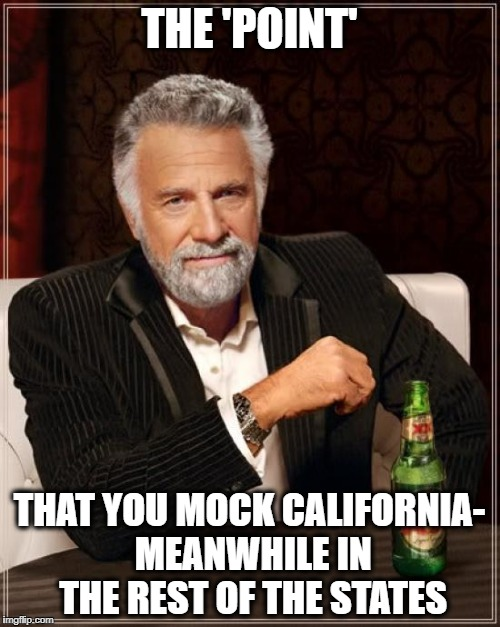 The Most Interesting Man In The World Meme | THE 'POINT' THAT YOU MOCK CALIFORNIA- MEANWHILE IN THE REST OF THE STATES | image tagged in memes,the most interesting man in the world | made w/ Imgflip meme maker