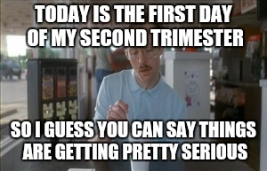 So I Guess You Can Say Things Are Getting Pretty Serious Meme | TODAY IS THE FIRST DAY OF MY SECOND TRIMESTER SO I GUESS YOU CAN SAY THINGS ARE GETTING PRETTY SERIOUS | image tagged in memes,so i guess you can say things are getting pretty serious | made w/ Imgflip meme maker