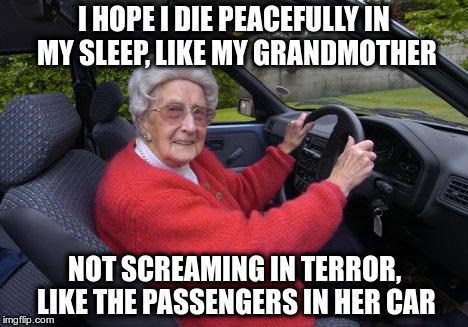 I hope I die peacefully in my sleep, like my grandmother | I HOPE I DIE PEACEFULLY IN MY SLEEP, LIKE MY GRANDMOTHER NOT SCREAMING IN TERROR, LIKE THE PASSENGERS IN HER CAR | image tagged in old people,driving,die,screaming | made w/ Imgflip meme maker