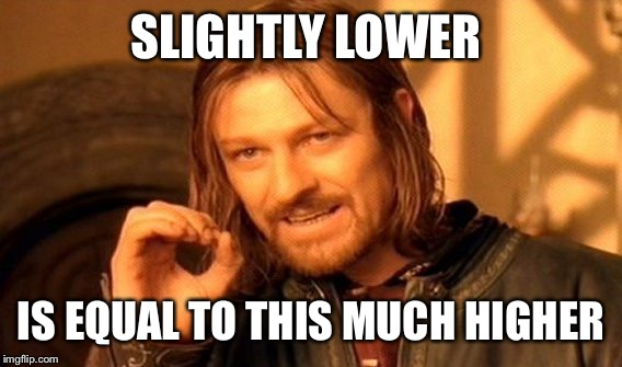 One Does Not Simply Meme | SLIGHTLY LOWER IS EQUAL TO THIS MUCH HIGHER | image tagged in memes,one does not simply | made w/ Imgflip meme maker