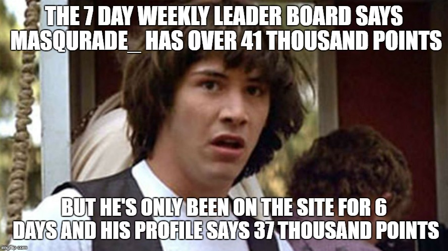 THE 7 DAY WEEKLY LEADER BOARD SAYS MASQURADE_ HAS OVER 41 THOUSAND POINTS BUT HE'S ONLY BEEN ON THE SITE FOR 6 DAYS AND HIS PROFILE SAYS 37  | made w/ Imgflip meme maker