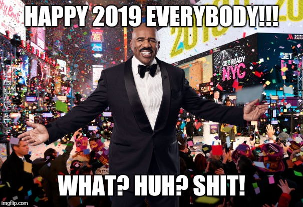 HAPPY NEW YEAR | HAPPY 2019 EVERYBODY!!! WHAT? HUH? SHIT! | image tagged in steve harvey,happy new year | made w/ Imgflip meme maker