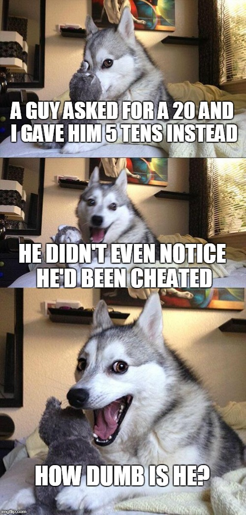 Bad Pun Dog Meme | A GUY ASKED FOR A 20 AND I GAVE HIM 5 TENS INSTEAD HE DIDN'T EVEN NOTICE HE'D BEEN CHEATED HOW DUMB IS HE? | image tagged in memes,bad pun dog | made w/ Imgflip meme maker