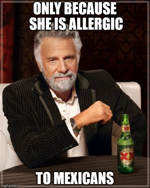 The Most Interesting Man In The World Meme | ONLY BECAUSE SHE IS ALLERGIC TO MEXICANS | image tagged in memes,the most interesting man in the world | made w/ Imgflip meme maker
