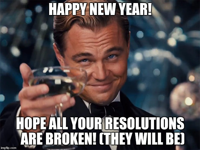 Photographer Happy New Year | HAPPY NEW YEAR! HOPE ALL YOUR RESOLUTIONS  ARE BROKEN! (THEY WILL BE) | image tagged in photographer happy new year | made w/ Imgflip meme maker
