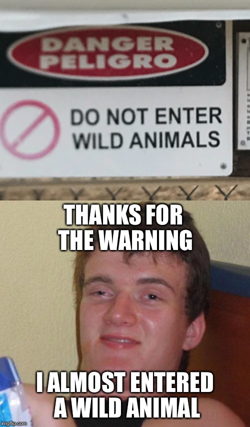 Happy New Year | THANKS FOR THE WARNING I ALMOST ENTERED A WILD ANIMAL | image tagged in 10 guy,warning sign | made w/ Imgflip meme maker
