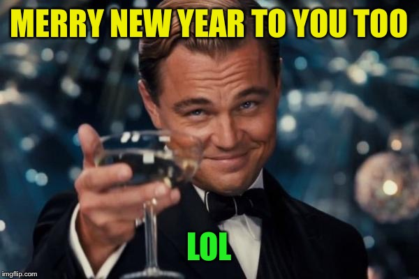 Leonardo Dicaprio Cheers Meme | MERRY NEW YEAR TO YOU TOO LOL | image tagged in memes,leonardo dicaprio cheers | made w/ Imgflip meme maker