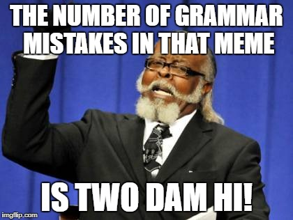 Too Damn High Meme | THE NUMBER OF GRAMMAR MISTAKES IN THAT MEME IS TWO DAM HI! | image tagged in memes,too damn high | made w/ Imgflip meme maker
