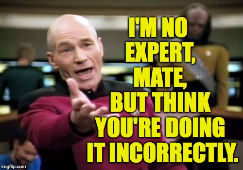 Picard Wtf Meme | I'M NO EXPERT, MATE, BUT THINK YOU'RE DOING IT INCORRECTLY. | image tagged in memes,picard wtf | made w/ Imgflip meme maker