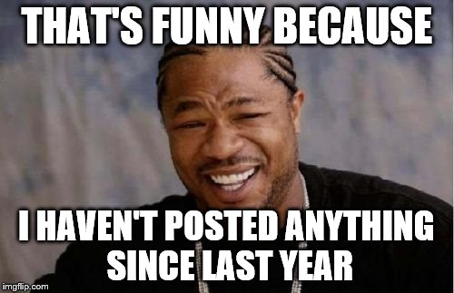 Yo Dawg Heard You Meme | THAT'S FUNNY BECAUSE I HAVEN'T POSTED ANYTHING SINCE LAST YEAR | image tagged in memes,yo dawg heard you | made w/ Imgflip meme maker